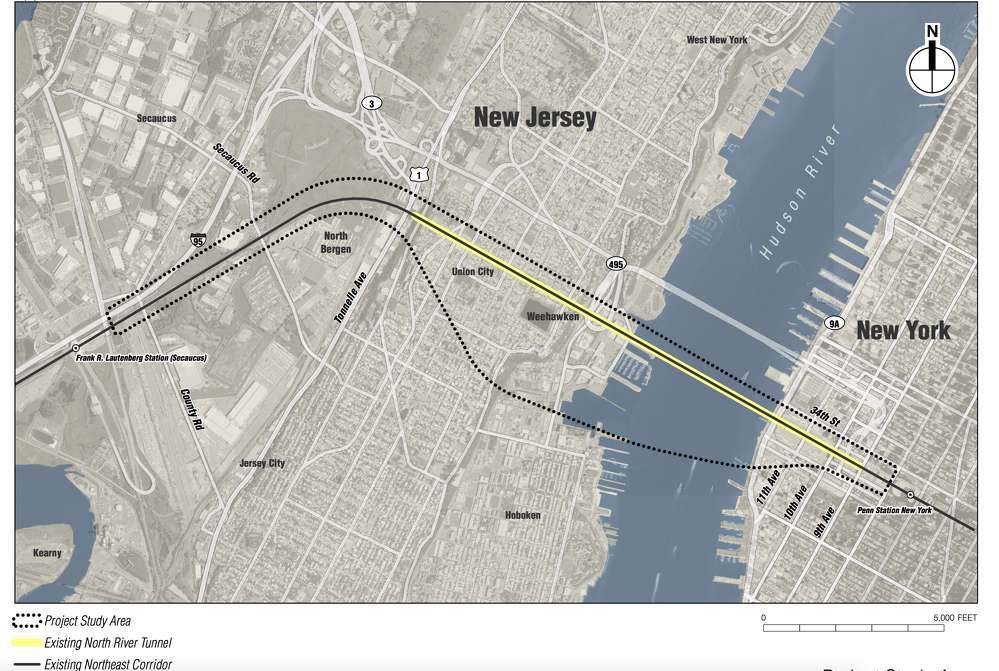 A map showing the projected path of work on the new tunnel. via Hudson Tunnel Project