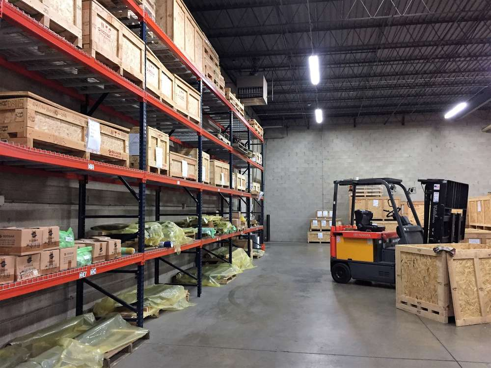 The Soosan warehouse in Illinois is fully stocked to support the growing dealer network.