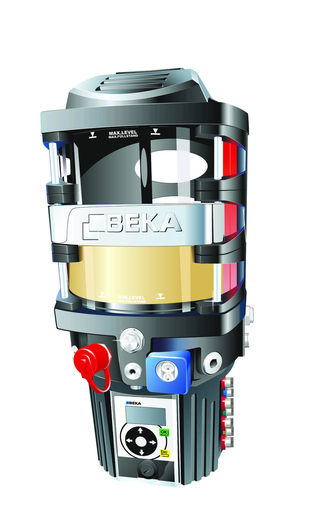 A GIGA Plus is like having three pumps in one: it has three independent outlets for lubricant supply that are tied together by internal channels within the pump housing