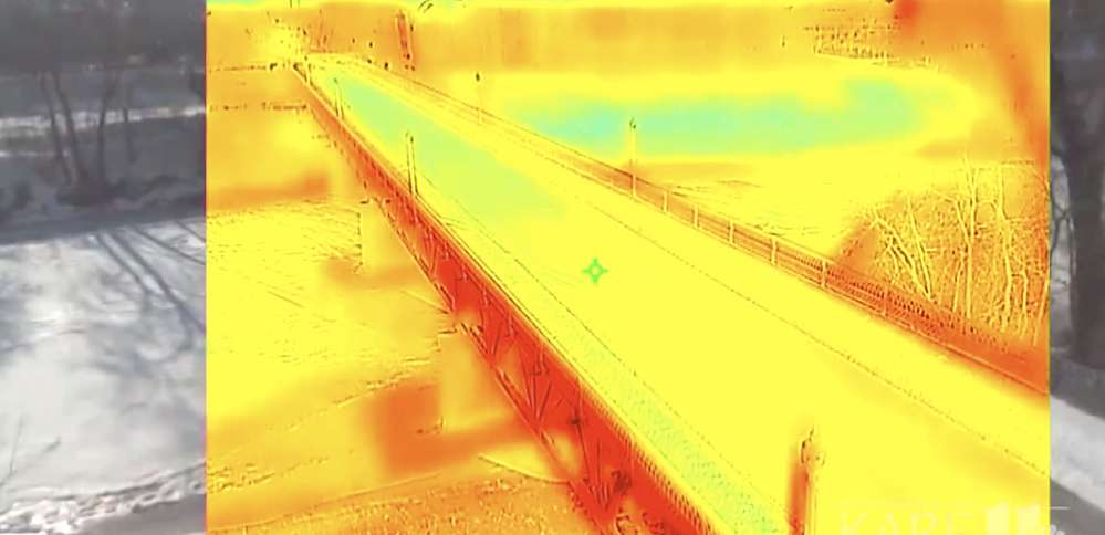 Thermal imaging shows temperature changes in the concrete. Image via KARE11.COM