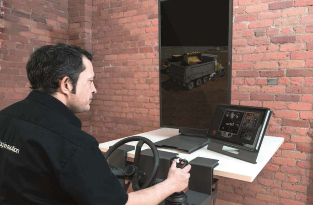 The Vortex Trainer uses industrial-grade joysticks and steering wheels developed by manufacturers for cranes and heavy earthmoving equipment.