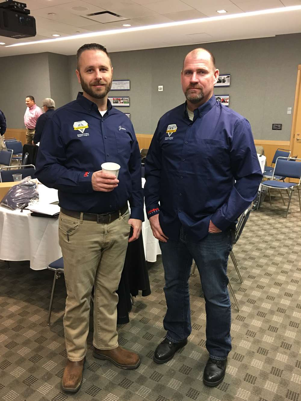 Jason Pearsall (L) of Pinnacle Cranes and George Walker of Southern Industrial Constructors attend the event.
