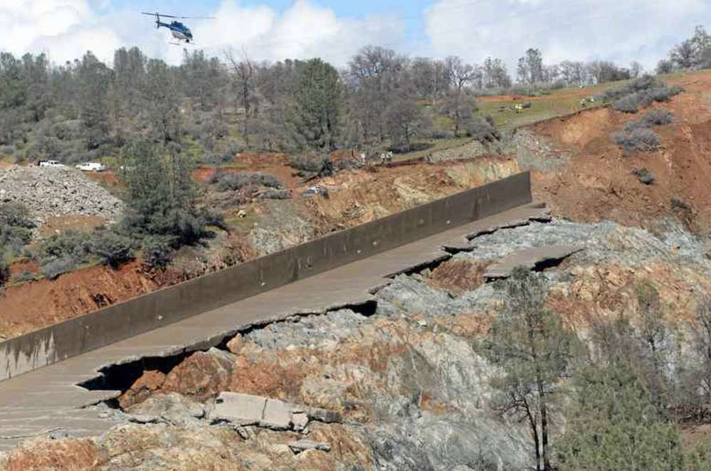 Damage done to the Oroville dam after a season of heavy rainfall in California.