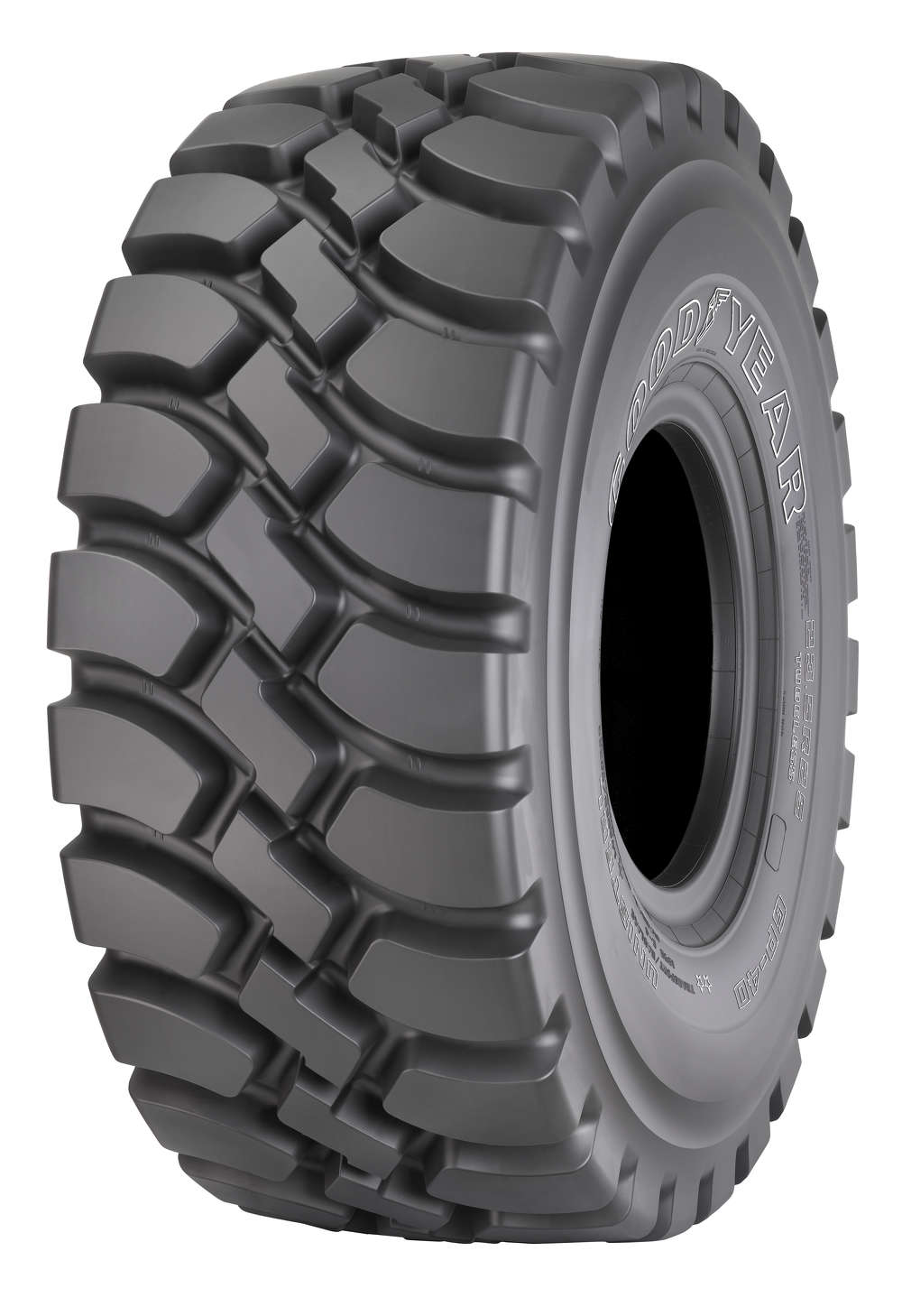 The Goodyear GP-4D, a high-traction, deep-tread tire for articulated dump trucks that features a non-directional tread design.