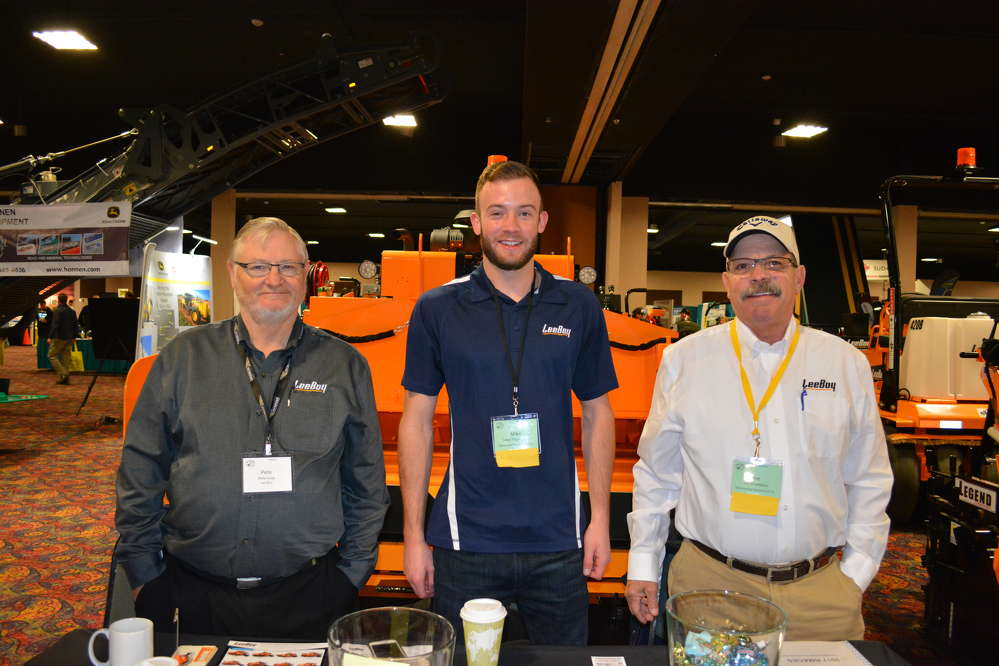 MacDonald Equipment of Commerce City, Colo., is the LeeBoy dealer in Colorado. (L-R) are Pete Kulp of LeeBoy; Michael Thompson, MacDonald's newest sales manager; and Joe Chambers, territory manager of MacDonald
