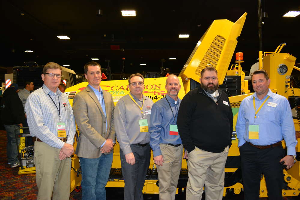 Carlson Paving Products was represented by its dealer, Faris Machinery. Ready to answer questions about the Carlson CP100 paver (L-R) are Gary Kline, Eric Paulsen and Bill Smith, all of Faris Machinery; Jason Lapp of Carlson Paving Products; and Jeremy Kinder and Ryan Giesler, also of Faris.