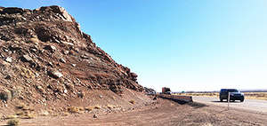 ADOT photo The I-40 Rock-Fall Mitigation Safety Project began in January on