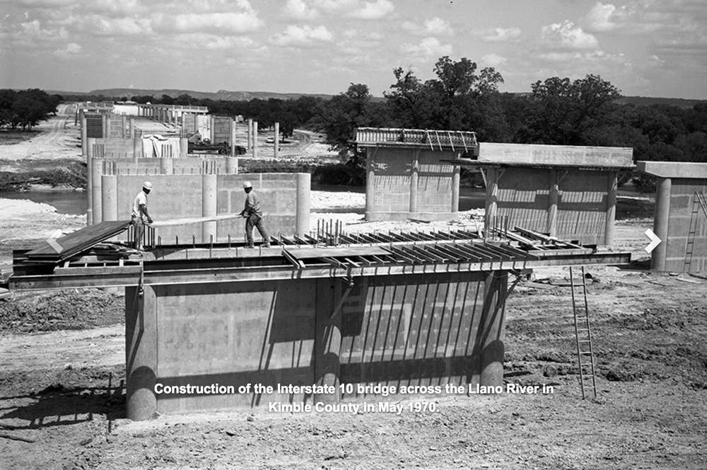 Construction of the Interstate 10 bridge across the Llano River in Kimble County in May 1970.