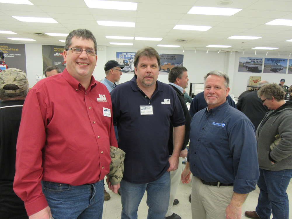 J&J Truck Bodies & Trailers' Joe Caldrone and Scott Helmick caught up with Gledhill Road Machinery's Rick Moore at the event.