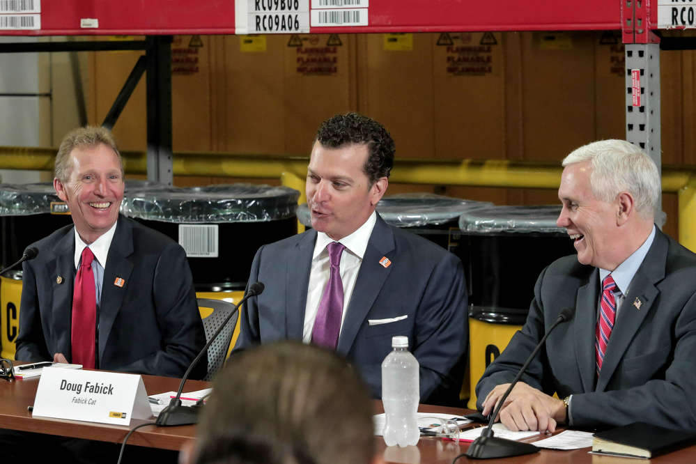 (L-R): Jeré Fabick, Fabick Cat president, and Doug Fabick, CEO of Fabick Cat, enjoy meeting with Vice President Pence.