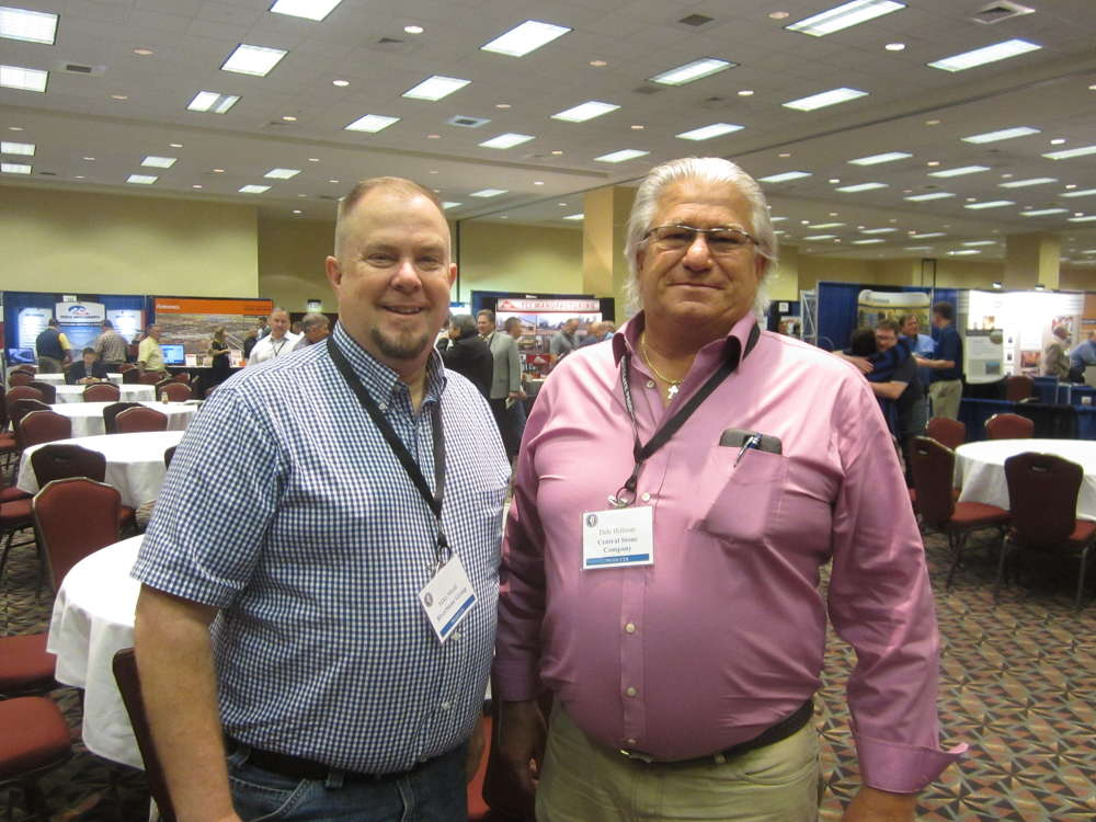 Mike Mudd (L), Riverstone Group, and Dale Hillman, Central Stone Co.,  discuss the industry at the convention.