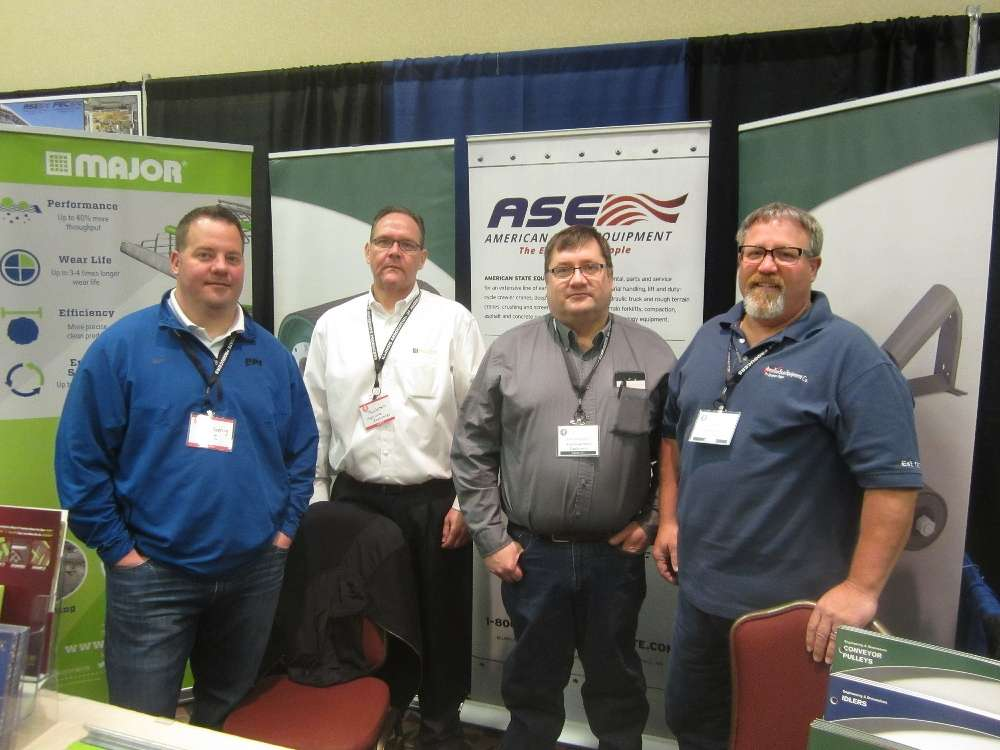 (L-R) are Paul Koenig, PPI; Tom Costello, Major Wire; and Don Gregorius and Terry Macklin, both of American State Equipment Co.