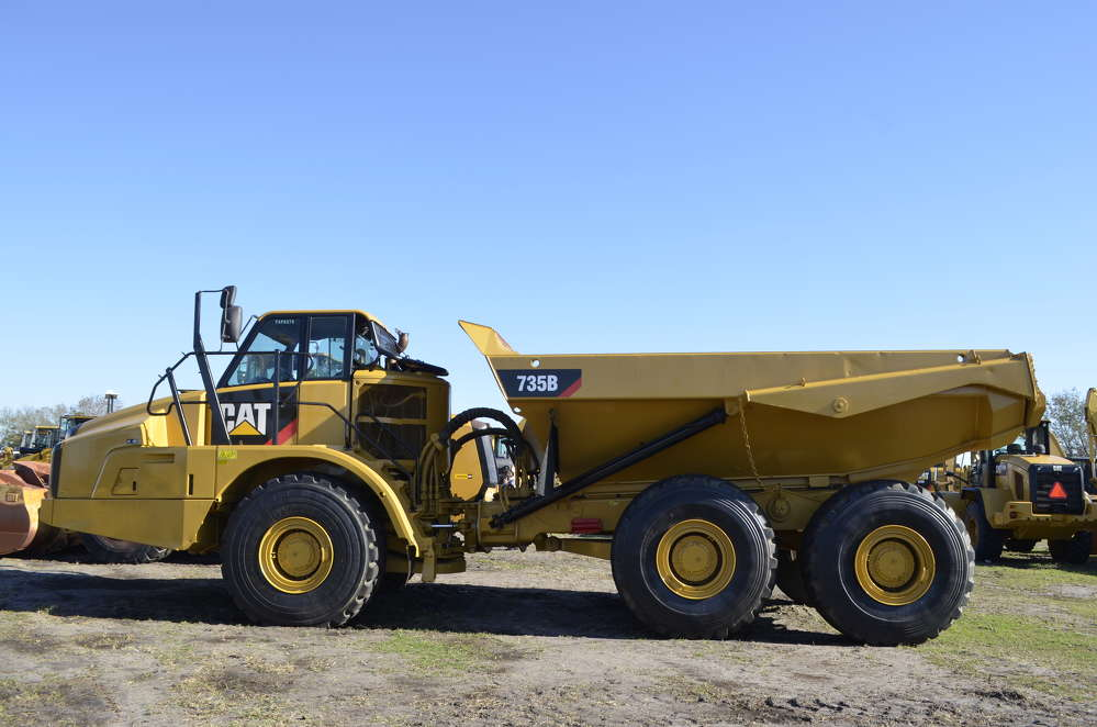 Supply is getting smaller and the prices are heating up on all types of construction equipment, including this Caterpillar 735 articulated truck that drew a lot of attention.