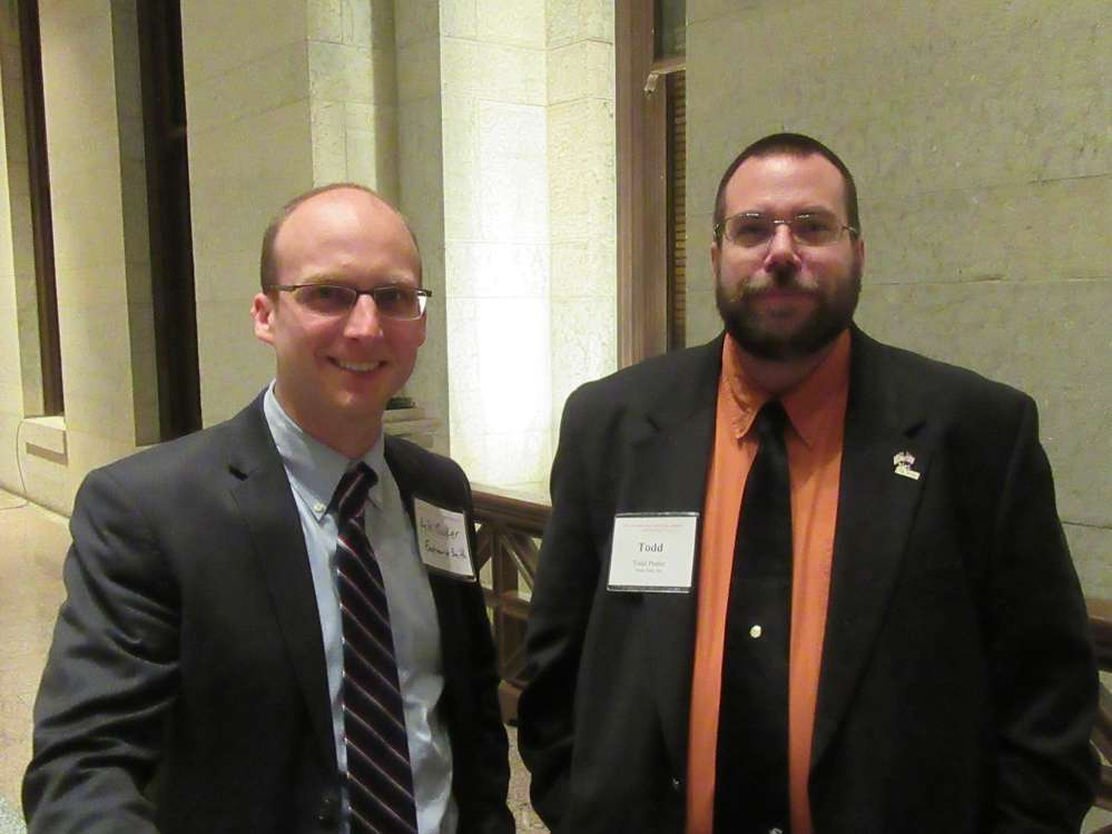 Kyle Tucker (L) of Eastman Smith, spoke with Todd Pester of Vibra-Tech Inc.