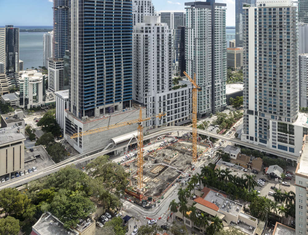 CMC Group? photo. What will be one of downtown Miami's tallest luxury condo towers has reached a milestone in construction, as crews prepare to go vertical.