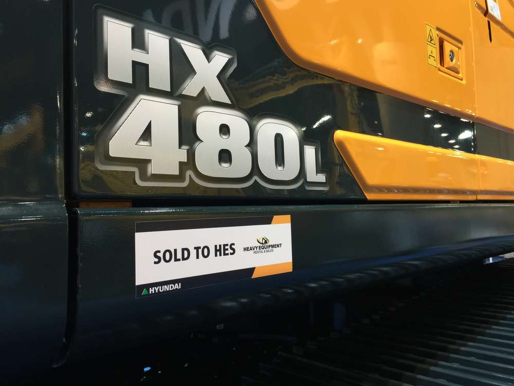 Among the Hyundai excavators purchased from the company's CONEXPO exhibit by Heavy Equipment Rental & Sales is the Hyundai HX480L model.