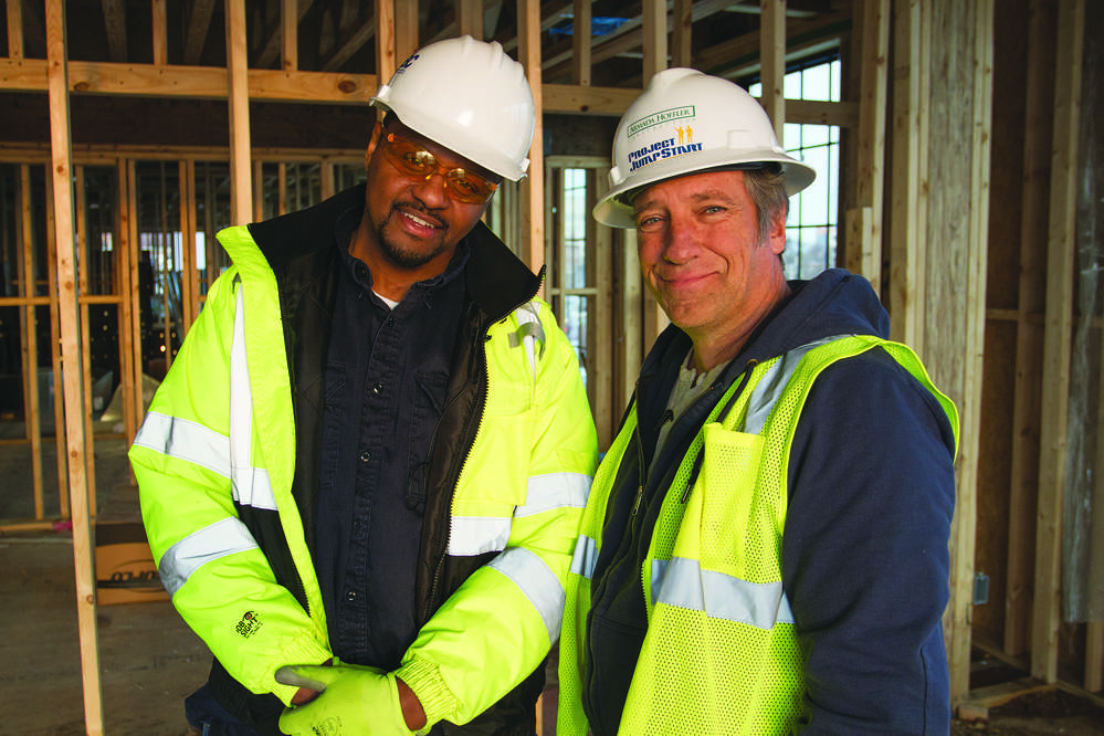 Toemore Knight (L), Project Jumpstart participant, and Mike Rowe
