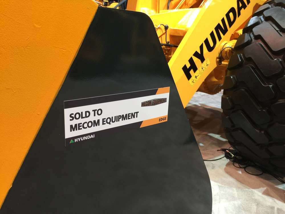 Among the Hyundai equipment models purchased from the company's CONEXPO exhibit by several of its dealers was the Hyundai HL975 wheel loader purchased by MECOM, a dealership serving Northern California.