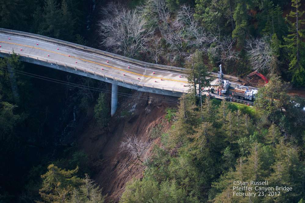 Stan Russell photo Crews are working to clear and repair multiple slide areas on Highway 1, but the most significant is the crumbling of the Pfeiffer Canyon Bridge, trapping residents south of the bridge in the central coast town in Monterey County.
