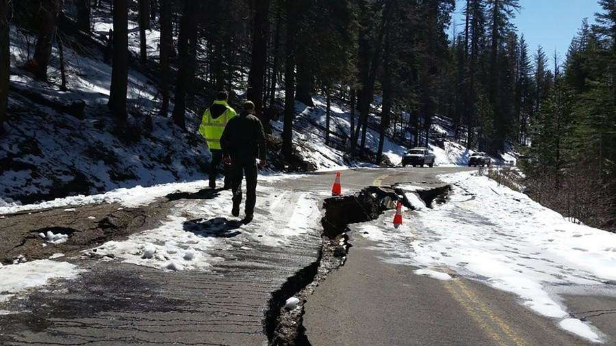 In the Yosemite Valley, only one of three main routes into the national park's major attraction is open because of damage or fear the roads could give out from cracks and seeping water, rangers said. (National Park Service)