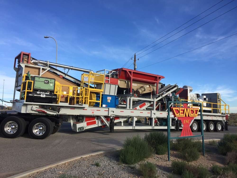 CEMCO's new Portable Industrial Tile Recycling Plant is mounted to a custom 65-foot quad-axle trailer built to DOT specifications.