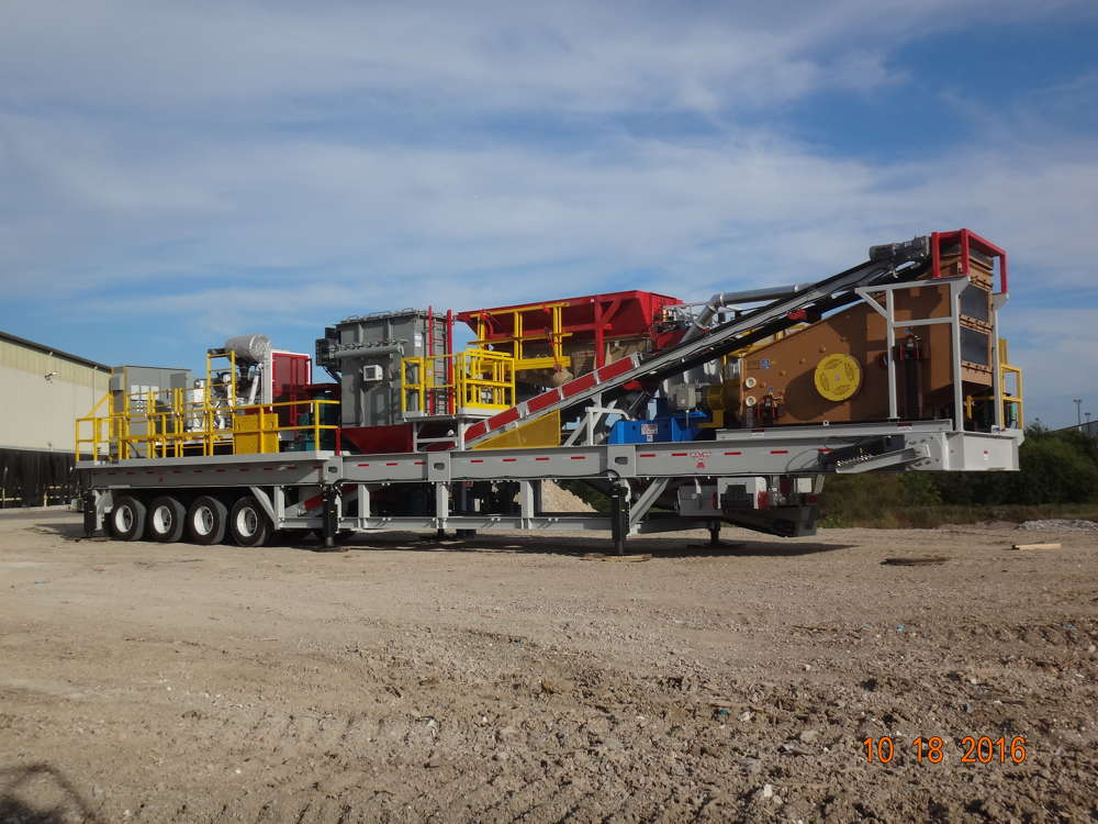 CEMCO's new Portable Industrial Tile Recycling Plant features a Turbo 54 VSI Crusher, primary crusher, dust collection system, triple-deck incline vibratory screen and vibratory feeder, all powered by a 500-kilowatt generator.