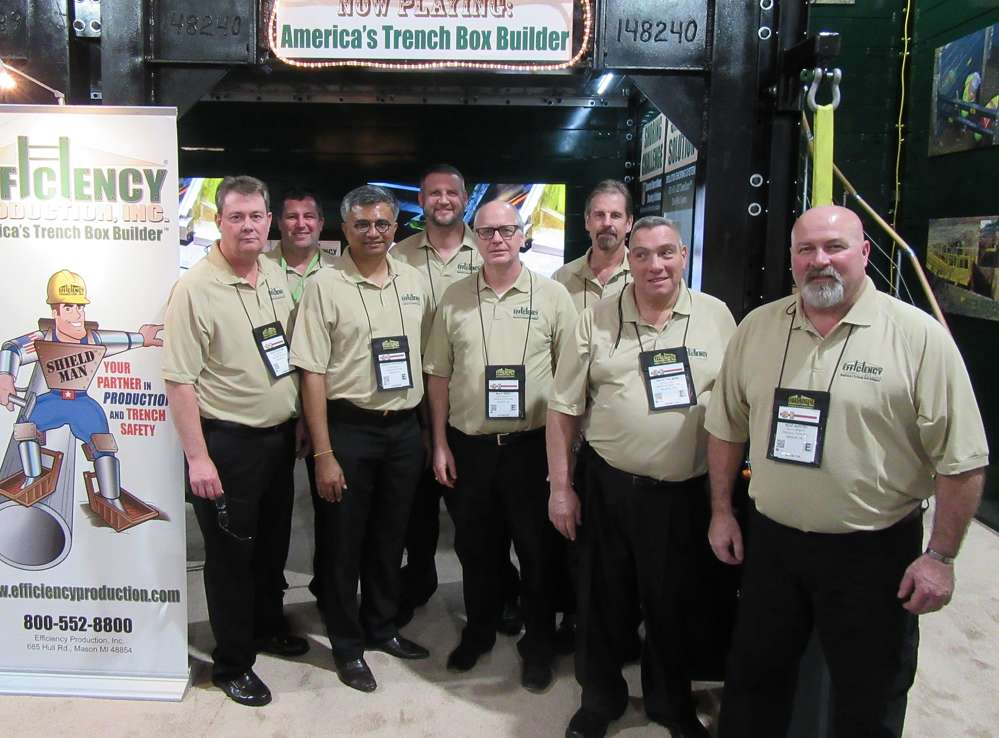L-R): Efficiency Productions' John Duncan, Kelly Worrall, Suresh Krishnasamy, Josh Remacle, Mike West, Al Baron, Raul Felman and Rod Austin discussed trench safety with attendees.