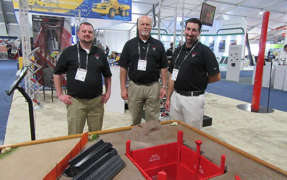 (L-R): Pro-Tec Equipment's Jon Lentz, Paul Rosemeck and Tommy Marciniak displayed a model representing the company's line of trench safety equipment.