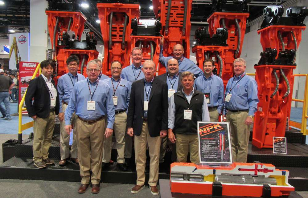A full contingent of NPK Construction Equipment representatives was on hand to talk about the company's line of hydraulic hammers, crushers, shears and pile drivers, including two lines new to the North American market: demolition grabs and sheeting drivers.