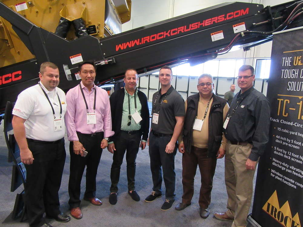 (L-R): John Patton of IROCK Crushers LLC welcomed Chi Sung Lee of Dong Haeng Corp in Korea, Mohammed Bennadz and Farid Haddar, both of Pengpu Algerie, along with Slavic Velet of IROCK and Chris Harris of Ohio CAT.