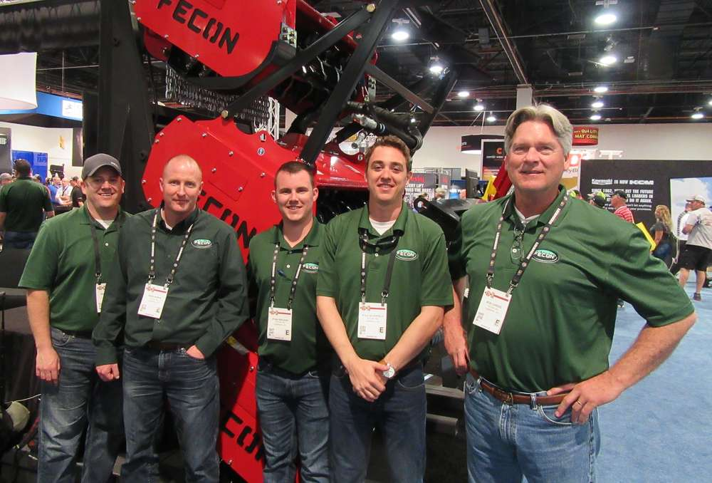(L-R): Fecon's Matt Warfel, Dave Burns, Ryan Bricker, Kyle Schofield and Bob Candee had plenty of land clearing equipment on display, both at the company's indoor booth and outdoor equipment display.