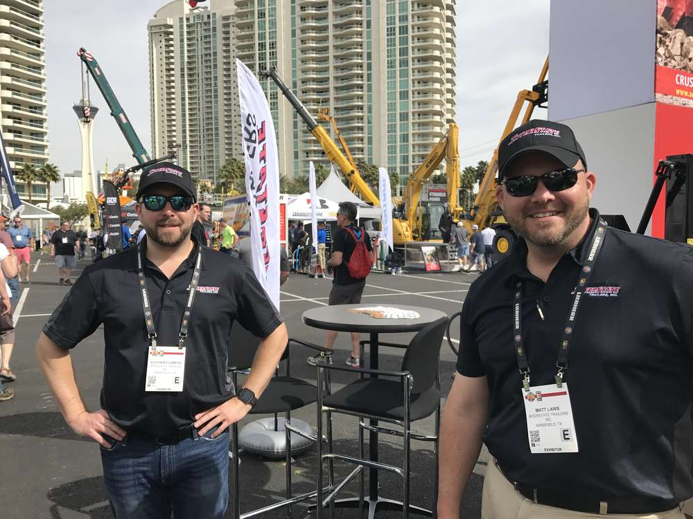 Steve Flowers (L) and Matt Laws of Interstate Trailers saw a lot of activity at their booth in the Gold Lot.