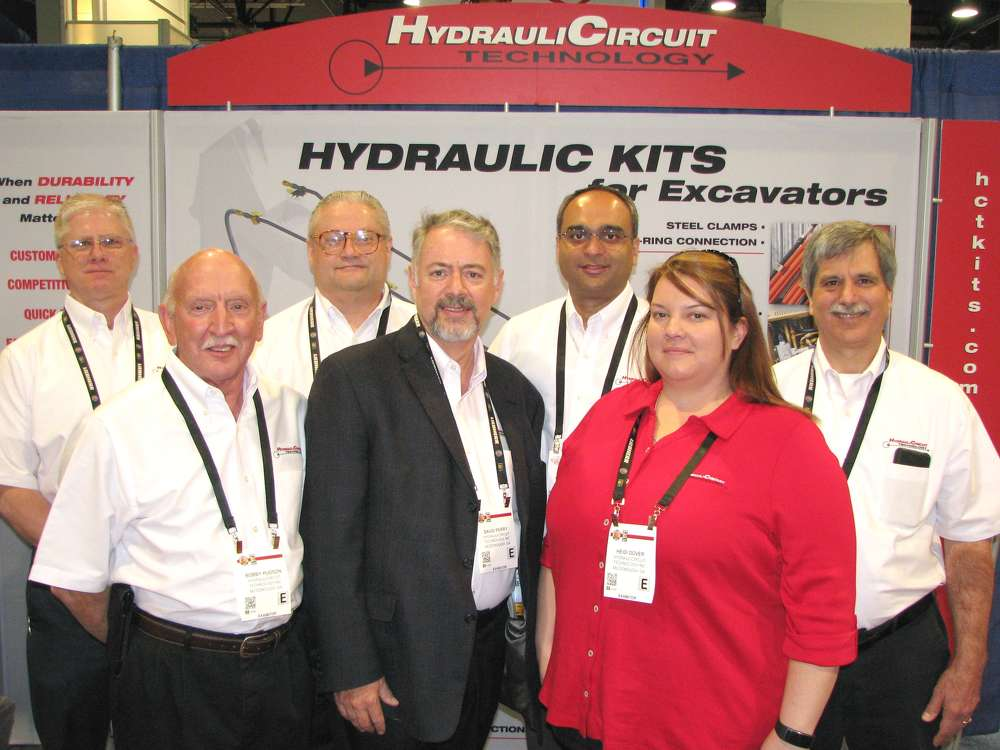 Representatives of HydrauliCircuit Technology were out in full force at ConExpo and (L-R) included Greg Hickman, Bobby Hudson (who briefly came out of retirement), Kevin Foster, David Perry, Navin Baliga, Heidi Dover and Mike Davis.