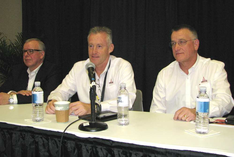 The all-star panel of experts leading the Deutz press conference (L-R) are Georg Diderich, Stephen Corley and Robert Mann.