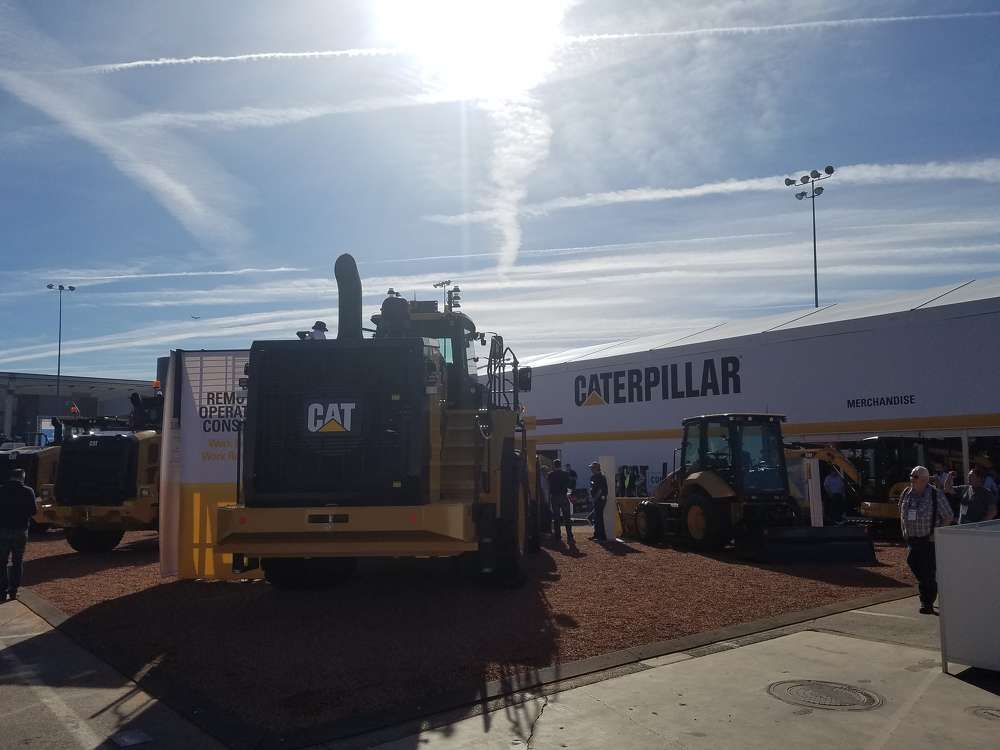 The sun shone on Caterpillar's exhibit in the Gold Lot.