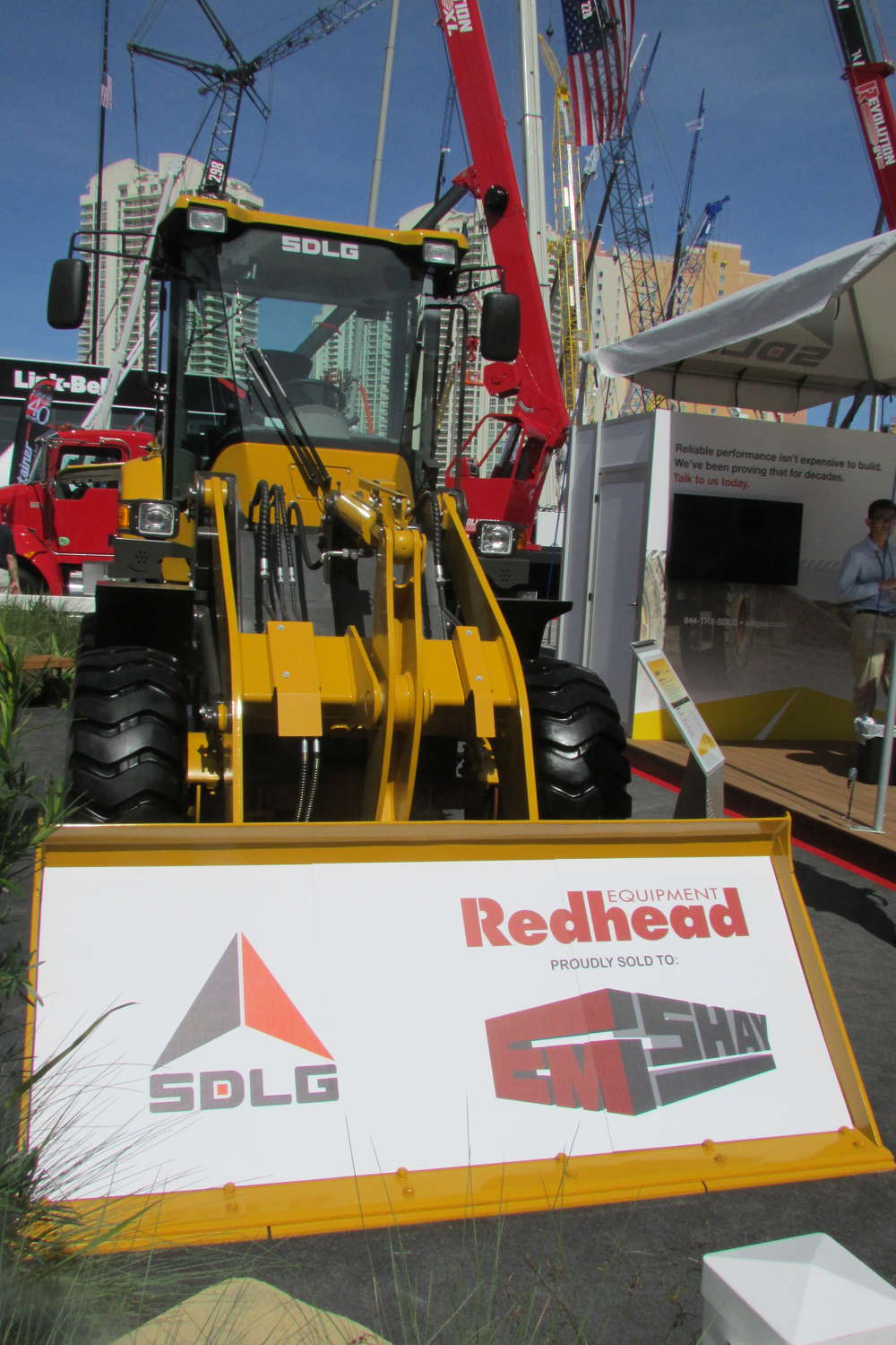 SDLG featured its wheel loaders at its exhibit in the Gold Lot at ConExpo