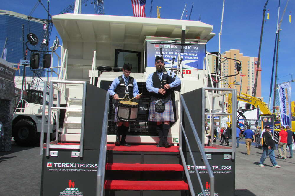 Bagpipe music greeted visitors to the Terex Truck exhibit in the Gold Lot.