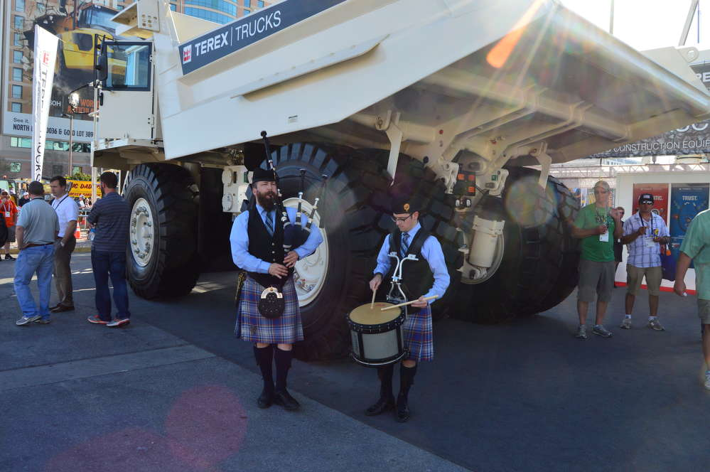 This mini pipe band performed for guests in front of this Terex Trucks TR60 rigid hauler.