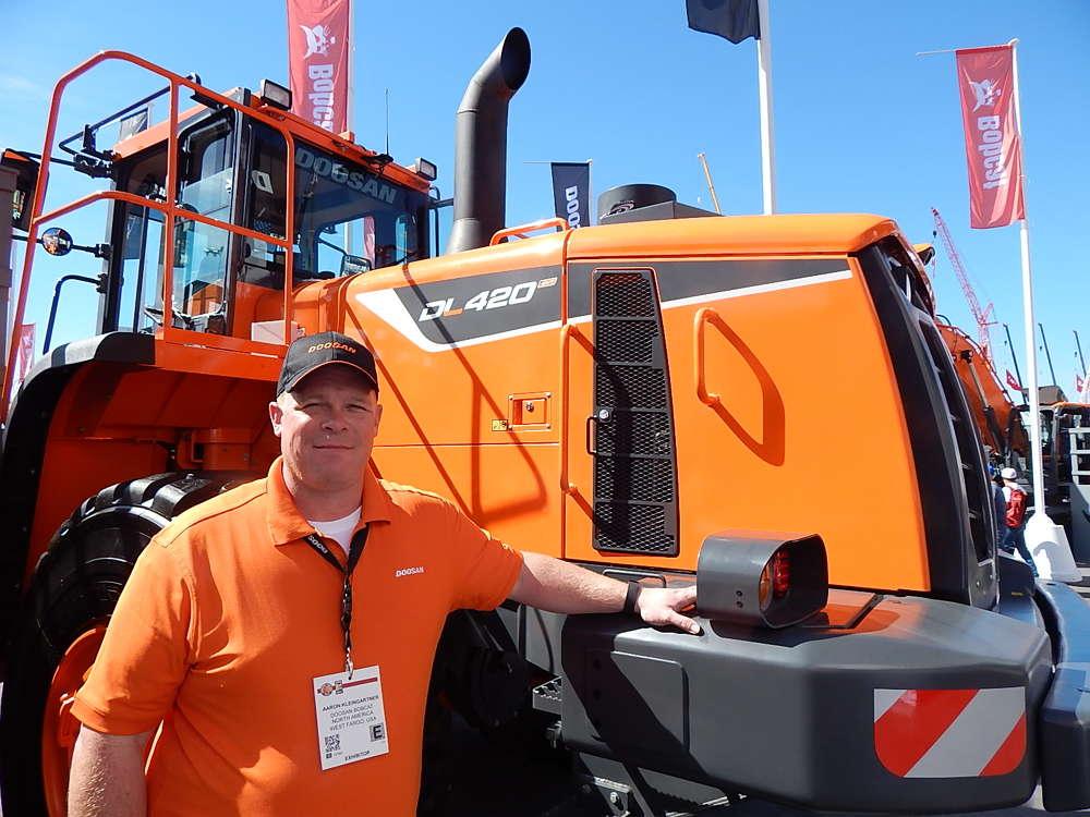 Doosan Marketing Manager Aaron Kleingartner helped introduce the new Doosan DL420-5 CVT wheel loader during ConExpo.