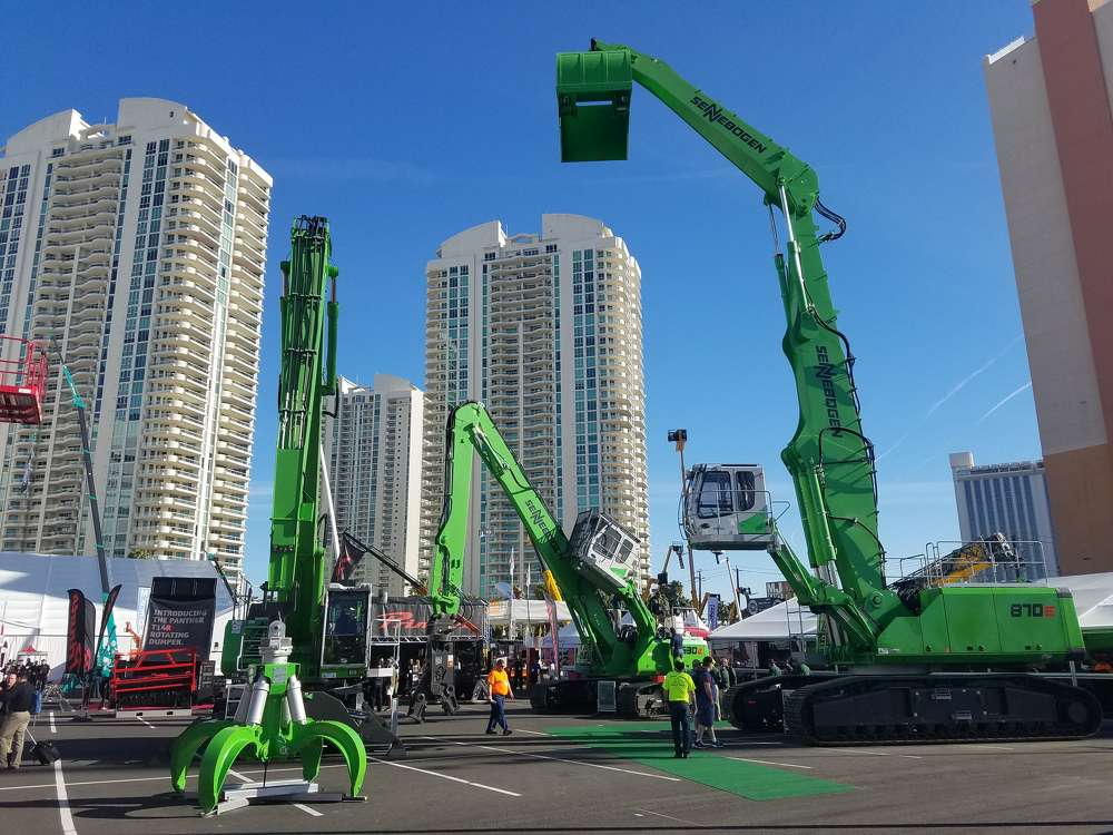Sennebogen Green Machines filled the Gold Lot at ConExpo.