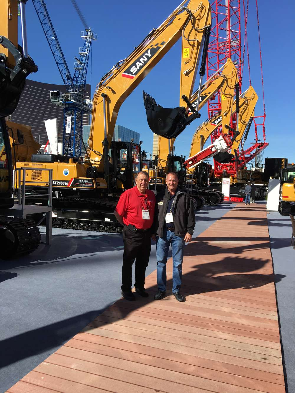 SANY introduced many new models and updates. In front of the SANY SY215LC and SY235LC top-selling excavators are Bill Step (L) of SANY and Jeff Udelson of Easton Sales & Rentals in Houston, Texas.
