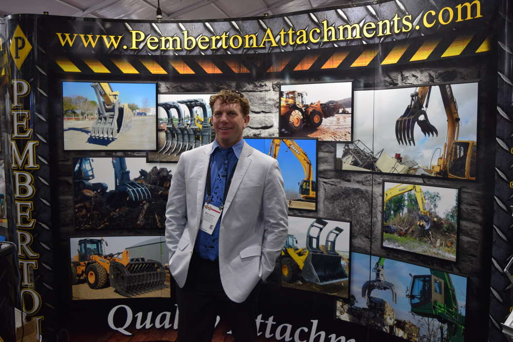 Mike Duffy of Pemberton Attachments of Orlando, Fla., energetically worked his booth, talking to customers about his quality attachments.