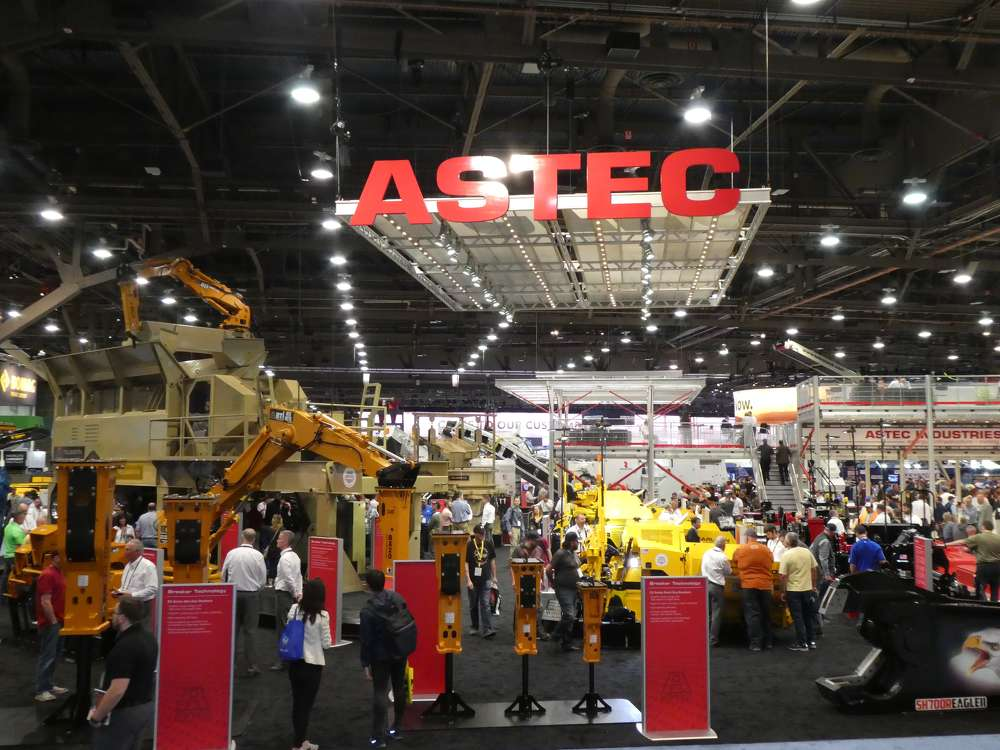 The Astec Industries exhibit drew many attendees during the five-day show.