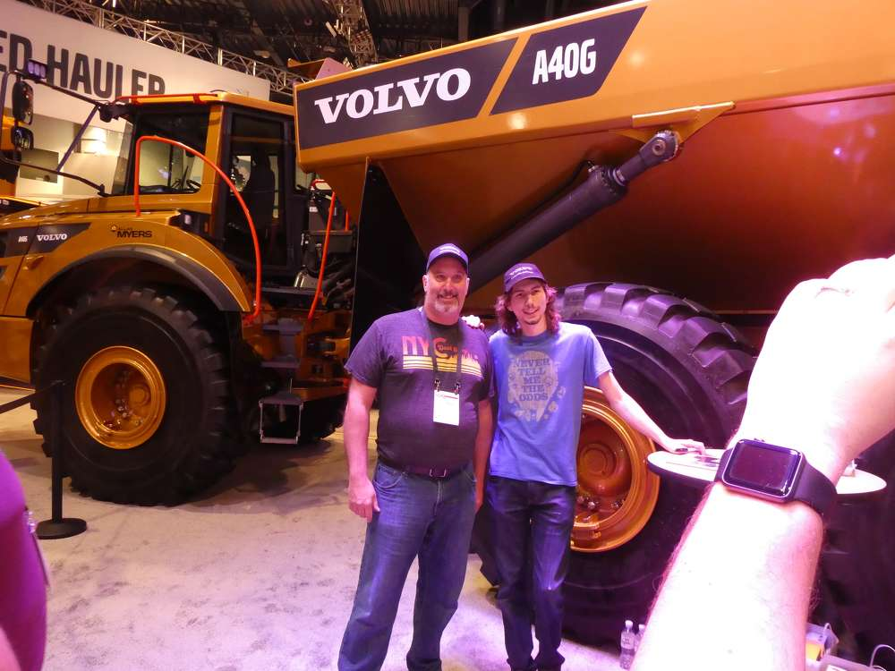 The Volvo Golden Hauler, celebrating Volvo CE building artics for 50 years, was on display and the hit television show Gold Rush's Parker Schnabel signed autographs – including one for Joe Moran (L) from Canada.
