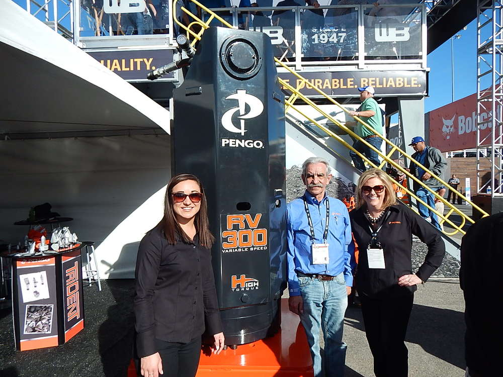 With the Pengo Anchor Drive RV300 with Variable Torque Speed (L-R) are Kathryn Malm, marketing specialist; Gerald Logan, northern territory manager; and Dawn Jamison, manager of OEM Accounts.
