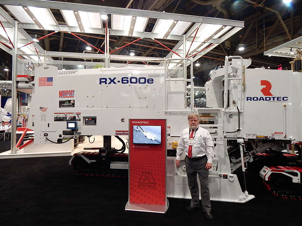 The massive Astec exhibit showcased a great line of equipment, such as this RX600-Ex, which is a 675 hp cold planer available with four-track assemblies or optional three-track assemblies, according to Roadtec Regional Sales Manager Rick Pare