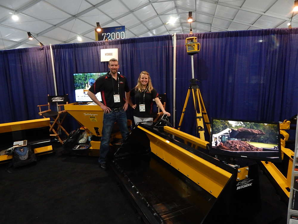HitchDoc had its new innovative Pusher Bucket, which can quickly clear wet or compacted products without having to shake, rattle or bounce the bucket, drastically increasing productivity on the job site. Co-owner Chad Mohns and Laura Underwood, marketing coordinator, were very excited to talk about it with attendees.