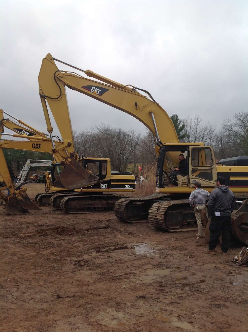 John Vancleet, VC Land, Hillsboro, N.J., tests out this Cat 330L excavator before bidding on it.