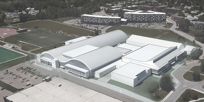 The new Events Center would be built in the parking lot currently located north of Gutterson.