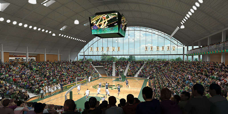 The new multi-purpose center plan includes a significant upgrade to UVM's basketball facility.